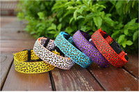 5pcs/lot free shipping Fashion Pet product  Leopard Grain Series LED Dog Collar white/yellow/red/purple/blue nylon collars