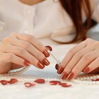 New 2014 High Quality 24pcs  False Nail Elegant OL Natural Press On Fake Nail Acrylic Nail Tips Free Shipping A0333