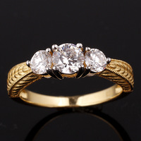 Tri-stone Women 2-tone Yellow Gold Finish 925 Sterling Silver Band Ring Size