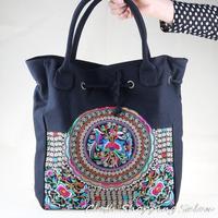 Original New National Trend Embroidery Bag Handmade Flower Coins Embroidered Shoulder Bag Women's Black Handbag Shopping Bag