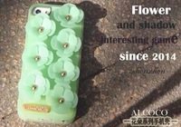 2014 new three-dimensional flowers silicone case for iphone5 5s free shipping