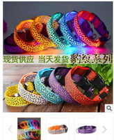 20pcs/lot free shipping new style Leopard Grain Series Dog Collar led Flashing Dog Collar nylon many colors for choice 3sizes