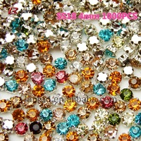 Wholesale 1000PCS SS18 Mixed Colors Sew On Flatback Crystal Rhinestones With Metal Findings Free Shipping