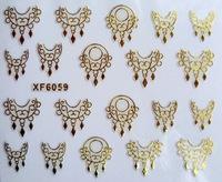 Free shipping 1 Sheet golden cute earrings shape 3D Design Tip Nail Art Nail Sticker Nail Decal Manicure nail tools