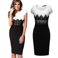 2014 Fashion OL patchwork lace one-piece dress evening dress evening dress bodycon midi dress!DR002