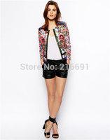 2014 New fashion Europe women elegant flower printed long sleeve jacket coats Lady casual embroidery brand outwear #J084