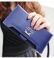 2014 version of the lovely ladies bow card-wallet long section wallet carteira feminina women handbag 8 colour free shipping