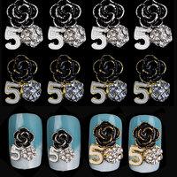 New 3d Alloy Nail Art,10pcs/lot Charm Silver Gold Rose Flower Design Nail Supplies,DIY UV Gel Nail Decoration Supply tools
