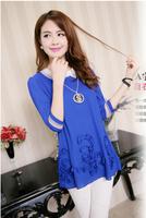 free shipping!New 2014 womens Disk embroidered shirt  lace  womens shirt  Chiffon shirt