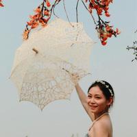 Ivory Vintage Battenburg  Handmade Embroidered Art Lace Parasol Sun Umbrella Wedding Bridal Party Decoration Free Shipping