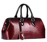 European and American Fashion Women PU Patent Leather Handbags Crocodile Pattern Retro Tote Bags Brand Design Wristlets Bags