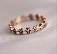 2014 New Style! Fashionable Popular Elegant Thin Sweet Full Star Crystal 18K Rose Gold Titanium Steel Rings, Free Shipping