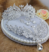 Alloy rhinestone bride peacock the bride necklace hair accessory piece set marriage accessories style accessories