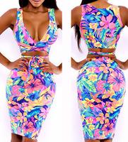 2014 Fashion female sexy print one-piece dress sleeveless elastic bodycon mini fashion dress! DR007