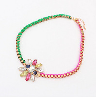 Sunshine jewelry store Bohemian Necklaces & Pendants Europe Rainbow Handmade Flower Collar Statement Necklace For Women