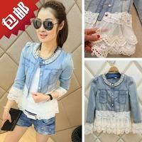 2014New fashion women lace denim jacket slim jeans outwear for women lady vintage jeans jacket Coat Free Shipping