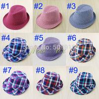 Retail Free Shipping Baby Fedora Hat Plaid Kids Boy Girls Jazz cap Dicer Children Fashion Top Hat Cowboy Hat 2pcs BH-1097