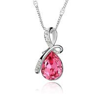$9.99 1Pcs Fashion Romantic  Love Women's Chain/Necklace With Blue Crystal Rhinestone Heart Pendant  Cheap!