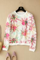 14 autumn ! fresh elegant print o-neck pullover sweatshirt