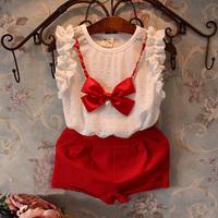 2 pcs/lot sleeveless + pants 2014 summer female child set Children's clothing child bow sleeveless T-shirt shorts twinset