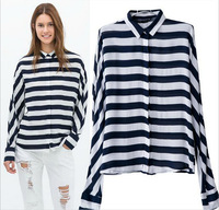 2014 New Women Ladies Brief Striped Long Sleeve Cotton Blouse Shirts Casual ZA Brand Designer Loose Tops Blusas A672