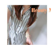 14 comfortable casual vertical stripe hemp shirt collar lacing one-piece dress youoccasionally !