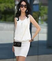 2014 Real Women Dress Vestidos Casual Free Shipping Woman Elegant Chiffon Collar Cotton Fold Package Hip Fashion Vest Dress 741#