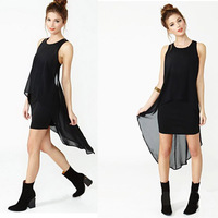 New 2014 Summer Sexy Women Chiffon Sheath Dovetail Package Hip Sleeveless Tank Dress Vestidos, Black, S, M, L, XL