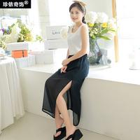 2014 Full black half-length chiffon dress perspectivity step medium-long half-length skirt slim hip placketing full dress female