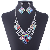 Vintage Women Jewelry sets Crystal Necklaces & Pendants + Drop Earrings Retro Dangle statement necklace Lady Fashion Gift