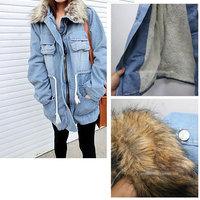 The new autumn and winter 2014 Korean Slim fur collar waist coat thick cotton padded denim jean jacket coat down & parkas KK915