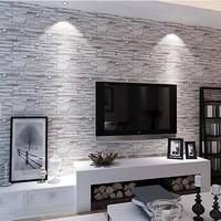 Chinese retro imitation stone brick pattern wallpaper pattern fashion personality living room wall wallpaper wholesale 3D TV