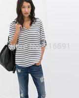 2014 new fashion women summer elegant  stria printed long sleeve blouse Lady casual brand design loose shirt #J090
