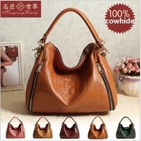 Free shipping 2014 chun xia latest European and American fashion women inclined shoulder bag handbag 100% real leather