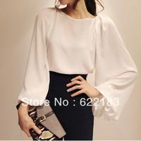 2013 autumnloose fresh vintage lantern sleeve chiffon top shirt white shirt  16884
