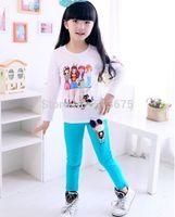 Free Shipping 1pc 2014 Autumn New girl cartoon 4 girls printing full-sleeved T-shirt colorful cotton girl children fashion tops