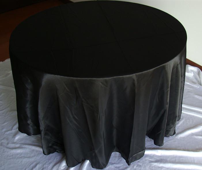 "free shipping 10pcs round 108"" black dining table cloth(China (Mainland))"