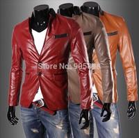 2014 new arrive Stand collar Men's jacket slim men's coats men's outwear split mens suit leather suits leather jacket red 3333