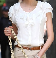 New 2014 summer women's plus size white chiffon shirt short-sleeve top ruffle shirt xxxl 4xl 5xl plus size summer clothing free