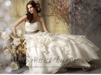 Layers Organza Sash Waist White Wedding Gown