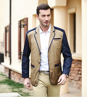 Single breasted khaki spring 2014 new thin man jacket casual coat suit jackets for men clothing slim cotton suits outdoors coats