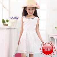 2014 new summer girls  vest dress yarn  Height 120 ~ 160cm