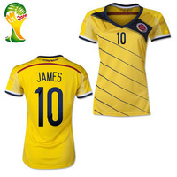 #10 James Rodriguez Colombia Women Jerseys 2014 World Cup Jerseys THAI Quality Home James Women Colombia Soccer Jersey Free Ship