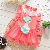 2014 new arrival summer Children chiffon baby girl cute lace flower princess dress kid lovely longsleeve clohes 4pcs/lot