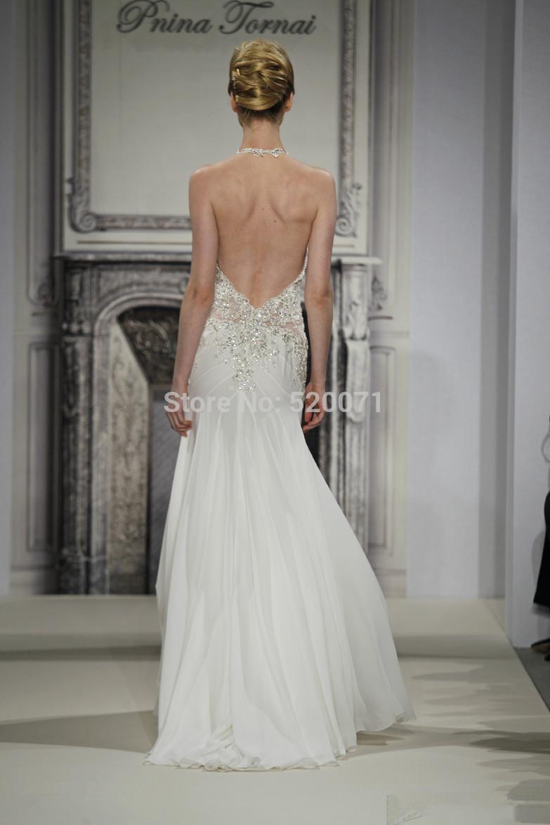 una sexy halter línea fuera del hombro de marfil blanco sin respaldo rebordear diseñador de vestidos de novia vestidos de novia costumbre hacer