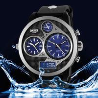 freeshipping 1pc/lot high quality skmei brand outdoor 50M deep waterproof men's 3 movement watch,dual digital/quartz movement