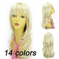 Fluffy oblique bangs long wigs female Womens Girls Sexy Long cosplay Full Wavy Hair Wig Free shipping SWEET