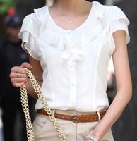 New 2014 summer clothing women's clothing plus size white chiffon shirt short-sleeve top ruffle shirts xxxl 4xl 5xl plus size