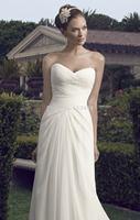 vestido de noiva 2014 White Elegant Brush Train Chiffon Wedding Dress Sweetheart Open Back Bridal Gown
