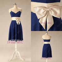 Real Sample Custom Made Blue A line V Neck Spaghetti Strap With Bow Sash Short Chiffon Evening Dresses Prom Dress QB-81